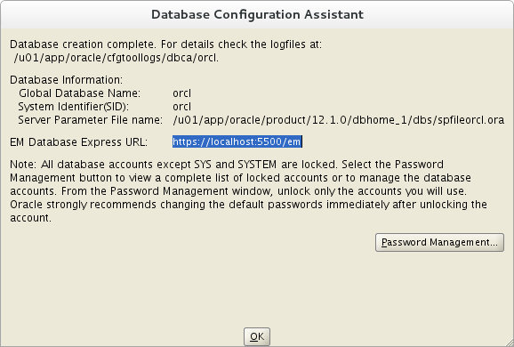 Installation of Oracle 12c on Oracle Linux 7 - configuration assistant