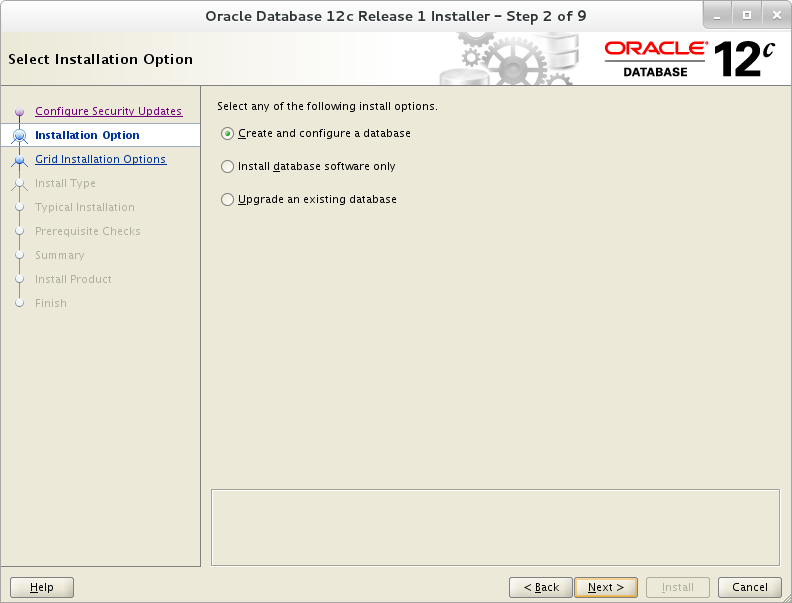 Installation of Oracle 12c on Oracle Linux 7 - Select Installation Option