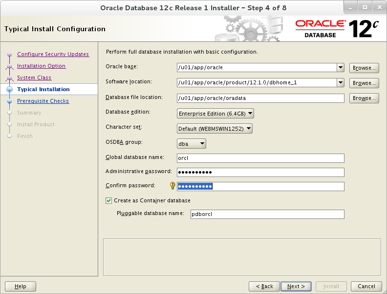 Installation of Oracle 12c on Oracle Linux 7 - Typical Install Configuration