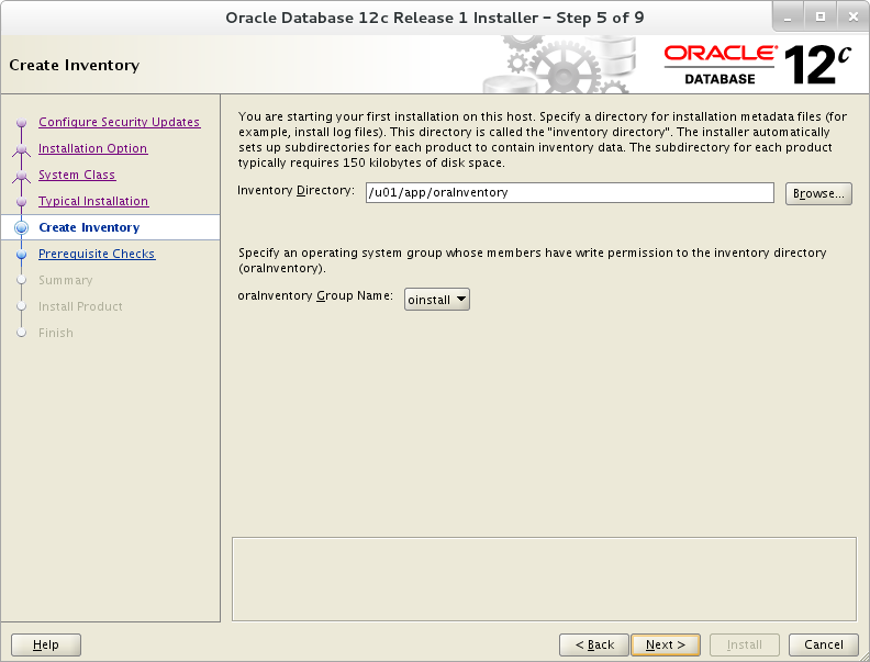 Installation of Oracle 12c on Oracle Linux 7 - Create Inventory
