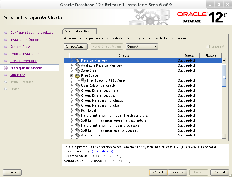 Installation of Oracle 12c on Oracle Linux 7 - Perform Pre-requisite Check
