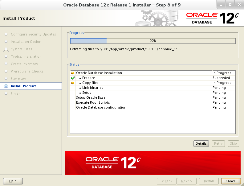 Installation of Oracle 12c on Oracle Linux 7 - Install Product