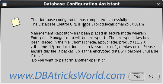 Database Configuration Assistant - Enterprise Manager