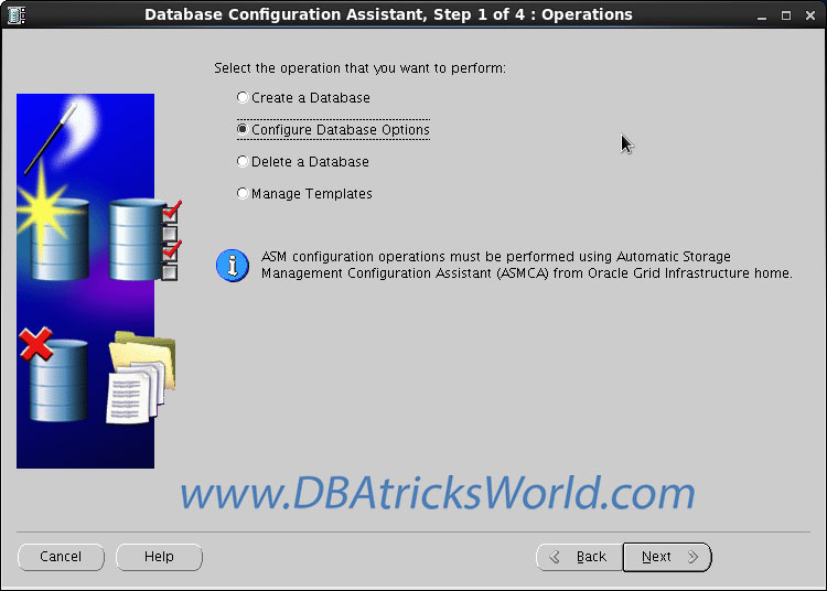 DBCA - Configure Database Option