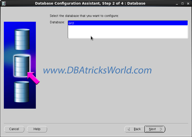 DBCA - Select Database Instance