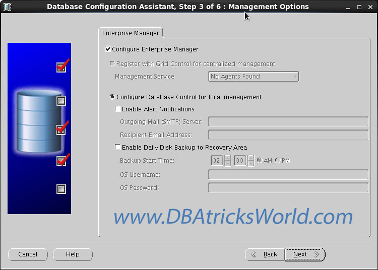 DBCA - Configure Enterprise Manager