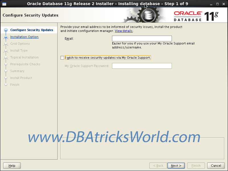 Oracle 11g Release-2 installation on CentOS 6.x - Configure Security Updates