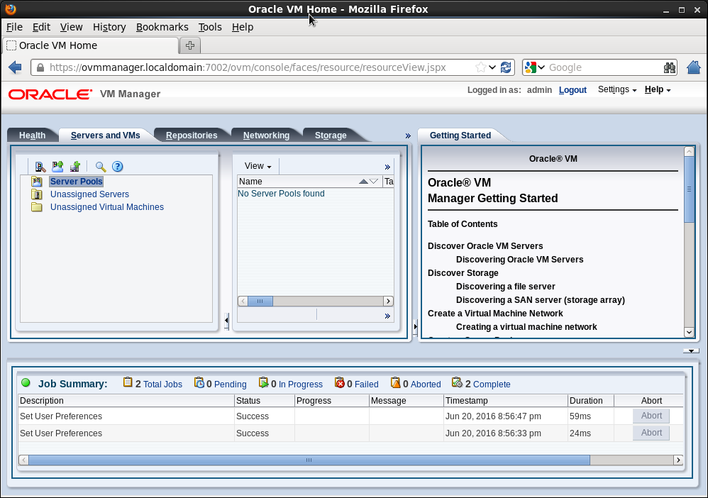 Oracle VM manager - console