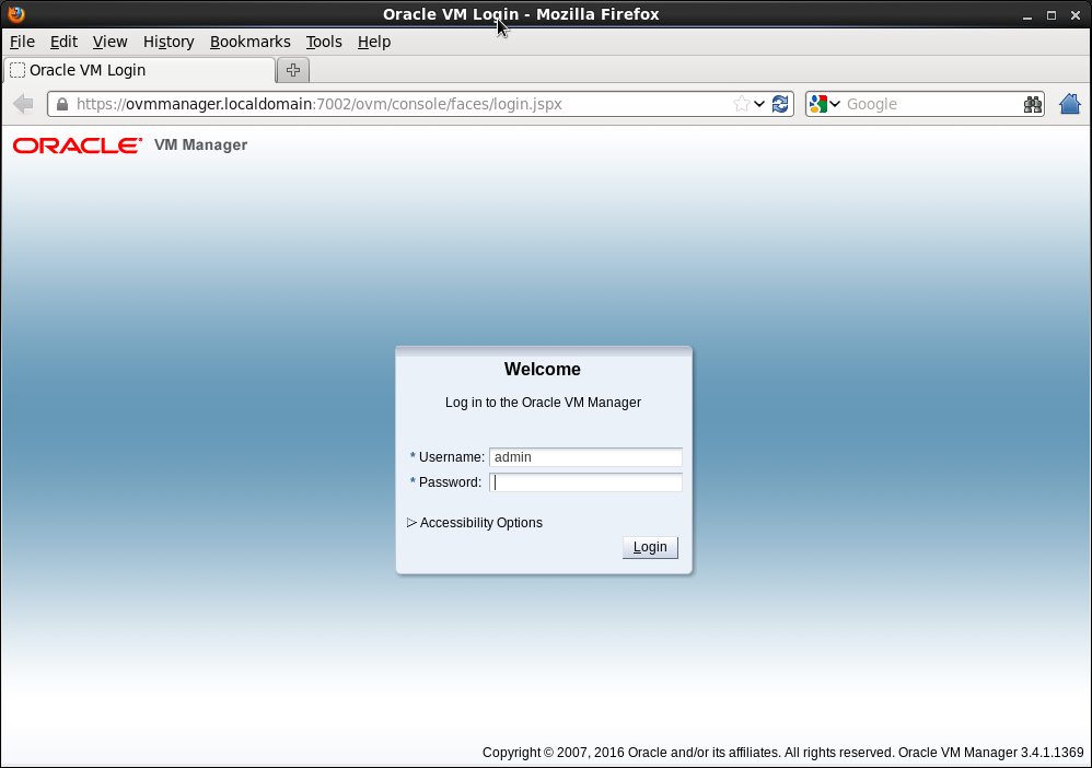 Oracle VM manager - login