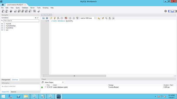 MySQL - create database through workbench